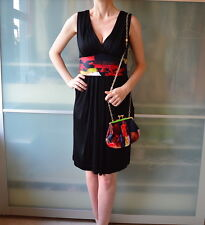 TED BAKER black dress with silk sash belt ~ SIZE 2 ~ UK 10