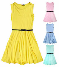 Girls Skater Dress Pastel Colors Summer Party Dresses Pink Mint Age 2 - 13 Years