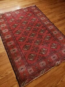Hand Knotted Vintage Turkoman Geometric Wool Rug 3.3 x 4.8