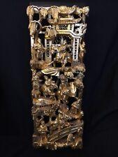 Asiatisches Wandrelief, filigrane Handarbeit, mit Streichgold handbemalt