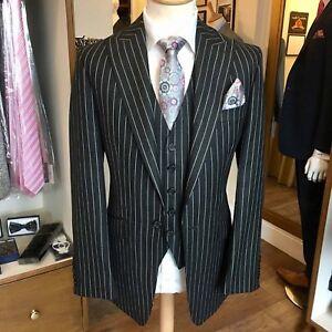 Men Black Stripes Suits Stylish Designer Wedding Dinner Suits (Coat+Vest+Pant)