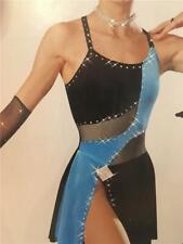 Dance Costume Tap Jazz dress Medium Child Skate Pageant Art Stone Black and Blue