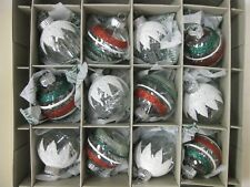 Radko Christmas Ornaments 12 Shiny Brite Round Green Red Silver Tinsel Glitter