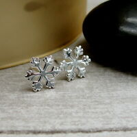 Snowflake Post Earrings - 925 Sterling Silver - Winter Christmas Studs NEW
