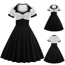 UK Women's Vintage Style Polka Dot 1950s 60s Rockabilly Evening Prom Swing Dress
