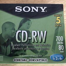 Sony CD-RW 5 pack Jewel Case 700MB 80 Min Rewritable Multi Speed 1x 2x 4x (#199)