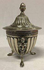 Antique Early 1900's Stamped Signed 800 Silver Lidded Pot