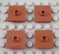 New LEGO Lot of 4 Reddish Brown 2x2 Tiles with Top Stud