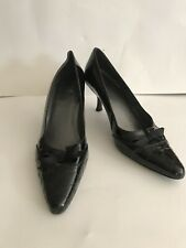 """STUART WEITZMAN SHOES HEELS Pointed Toe Black Bow Size 10 M About 3"""" Heel"""