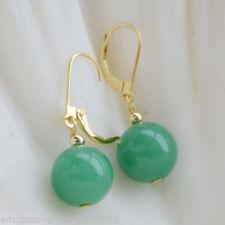 Natural 12mm Light Green Jade 14K Gld Plated Hook Leverback Dangle Earrings