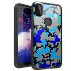 MetKase Hybrid Slim Case for REVVL 4G/4 PLUS/5G Phone Cover - BLUE STYLISH CAMO