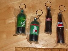 "LOT OF 4  MINI Soda Bottle Key Ring/Chain 3 1/2"" Coke, 7up, Sprite, & a 4"" Pepsi"