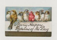 OLD POSTCARD ANIMAL BIRD GREETINGS BIRTHDAY 1900S FD516