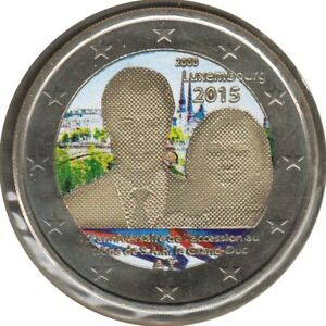 LU20015.5 - LUXEMBOURG - 2 euros commémo. Colorisée Accession au trône SAR -2015
