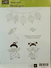Stampin Up KIMONO KIDS clear mount stamps NEW Asian Japanese lanterns umbrella