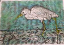 Wading Egret - US, small, art reproduction, artist, ink, realism, Birds