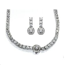 """NEW ALL AROUND CUBIC ZIRCONIA HALO BRIDAL NECKLACE & STICK EARRING SET-18"""""""