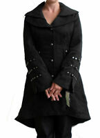 3/4 LENGTH BLACK BROCADE VICTORIAN COAT UK 8 10 STEAMPUNK JACKET DELUXE LINED