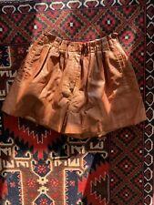 ZARA leather shorts paperbag style faux size M UK tan brown crocodile