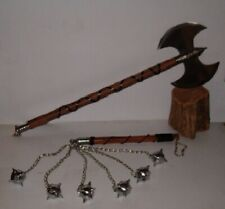 "34"" Double Edge Medieval Executioner Axe & 6 Ball Battle Mace,Free Shipping"