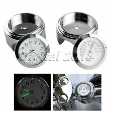 "7/8"" 22mm Handlebar Dial Clock Thermometer Temp Gauge Set for Motorcycle Chopper"