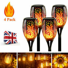 More details for 4pcs led flame solar torch light waterproof flickering dancing path garden lamp