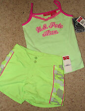 U.S. POLO ASSN. 2-Piece Girls Outfit Set Shorts/Tank Top Pink Green Camo NWT