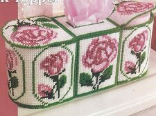 **PINK ROSE TANK TOPPER-HOLDS SPARE ROLLS & TISSUE BOX**PLASTIC CANVAS PATTERN**