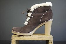 BCB Girls Women's Brown Suede Lace Up Oxford Ankle Boots Faux Fur 6.5 B