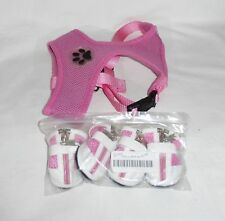 Small dog harness soft mesh size M/Medium with set of 4 pink and white size 2 sh