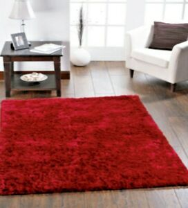 Origin Shimmer Glamorous Shaggy Contemporary Rug Red. 4 Sizes More Colours