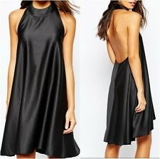 Never Fully Dressed Satin Halterneck Dress w/ Low Back Black UK 12 US 8 (ca892)