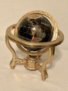 "Mini Blue Ocean Gold ZINC ALLOY table stand Gem MOP Gemstone World MAP globe -5"""