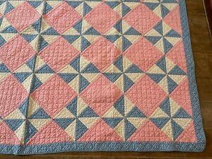 "85 x 74"" Vintage handmade Pinwheel quilt peach blue twin throw wind mill pieced"
