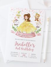 10 PERSONALISED BEAUTY AND THE BEAST BIRTHDAY PARTY INVITATIONS - PRINCESS CUTE