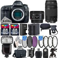 Canon 5D Mark IV DSLR Full Frame Camera + 50mm 1.8 STM + 75-300 III -64GB Bundle