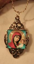 Delightful Festooned Goldtne Blue & Red Madonna Gold Aura Medal Pendant Necklace