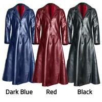 Vintage Men Gothic Steampunk Coat Tailcoat Trench Vampire Jacket Costume Leather