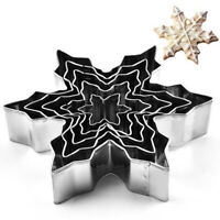 5PCS Snowflake Stainless Steel Cookie Cutter Biscuit Pastry Mold Cake Decor T ia