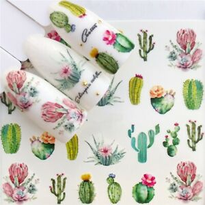DIY Nail Art Water Transfer Decal Stickers Summer Cactus Cacti Flowers AU