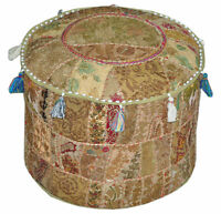 Bohemian  Embroidered Pouf Ottoman in Beige Footstool Cover indian round ottoman