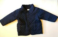 Gymboree Quilted Lightweight Jacket Navy Blue Snap button flap pocket 12-18 mos