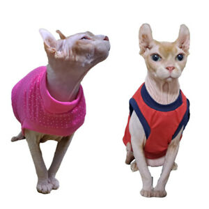 Sphynx Hairless Cat T-Shirts Vest Sleeveless Summer Cotton Pet Clothes