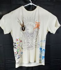 """Ed Hardy by Christian Audigier T-shirt """"Death Before Dishonor"""" All Over Graphic"""