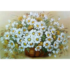 Round 5D Diy Diamond Painting Cross Stitich White Daisies Plant Art Home Decor