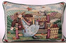 Debbie Mumm - Fall, Leaves, Girl, Bench, Patchwork Hillside Tapestry Pillow New