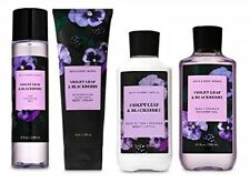 4 Piece Bath & Body Works Violet Leaf & Blackberry Set -Lotion, Gel, Mist, Cream