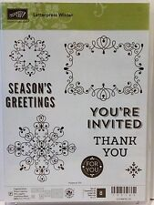 Stampin Up LETTERPRESS WINTER Photopolymer stamps Seasons Greetings Invited