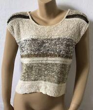 LIZ CLAIBORNE Womens Size Medium Sheer Sweater Knit Short Sleeve Shirt Striped