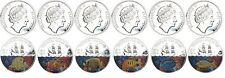 Fiji $1 Silver plated 6 coin Set, 2009,KM-145 to 150,Tropical Fish of Fiji,QE II